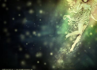 wings, fairies, barefoot, fantasy art, bokeh, green dress - desktop wallpaper
