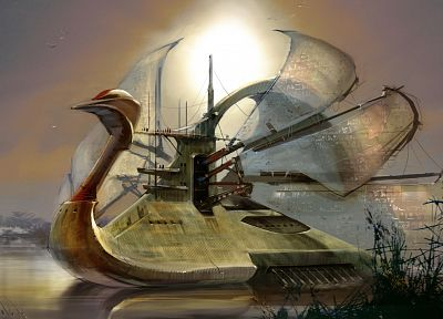 ships, swans, surreal, fantasy art, sails, Daniel Dociu - related desktop wallpaper