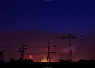 sunrise, power lines - desktop wallpaper