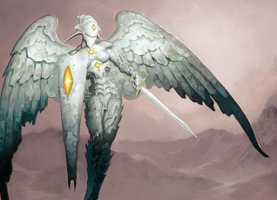 angels, Magic: The Gathering, shield, gargoyle, Platinum, S.H.I.E.L.D., Platinum Angel - random desktop wallpaper