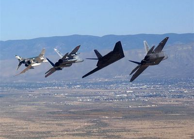 aircraft, military, F-22 Raptor, F-4 Phantom II, F-15 Eagle, Lockheed F-117 Nighthawk - random desktop wallpaper