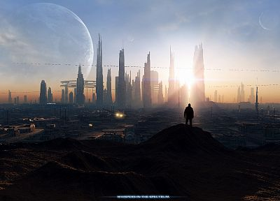 landscapes, Sun, cityscapes, futuristic, planets, men, buildings, skyscapes - random desktop wallpaper