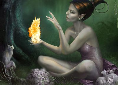 women, cats, fire, fantasy art, elves, digital art - random desktop wallpaper
