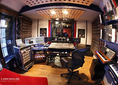 studio, room, recording, fisheye effect - random desktop wallpaper