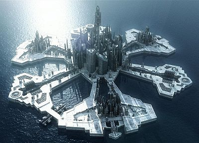 ocean, futuristic, Stargate Atlantis, Stargate, buildings, islands, science fiction, TV shows - random desktop wallpaper