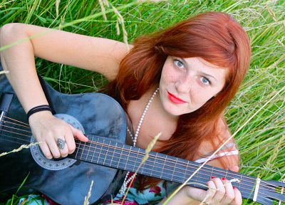 women, redheads, grass, guitars, sitting, girls in nature - random desktop wallpaper