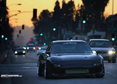 streets, cars, traffic lights, vehicles, Mazda RX-7 - related desktop wallpaper