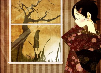 Sayonara Zetsubou Sensei, trees, dress, indoors, grass, silhouettes, suicide, kimono, hanging, short hair, blush, red dress, anime boys, closed eyes, Itoshiki Nozomu, Fuura Kafuka, profile, Japanese clothes, anime girls, hair ornaments, stripes, bangs, bl - related desktop wallpaper
