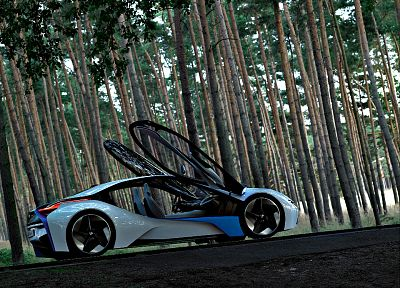 BMW, forests, cars, BMW Vision EfficientDynamics, concept car, EfficientDynamics - desktop wallpaper