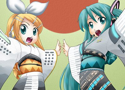 Vocaloid, Hatsune Miku, Kagamine Rin, Japanese clothes - related desktop wallpaper