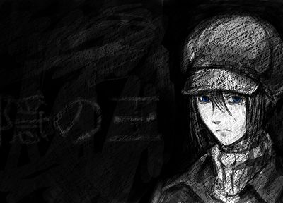 blue eyes, Nabari no Ou, anime, anime boys, Yoite, selective coloring, hats - related desktop wallpaper