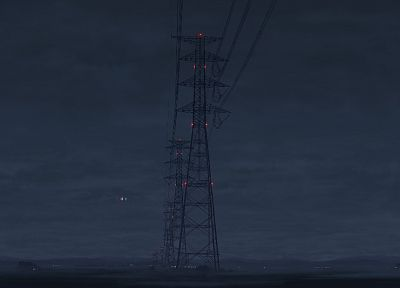 landscapes, artistic, Makoto Shinkai, power lines, 5 Centimeters Per Second - related desktop wallpaper