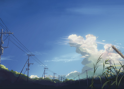 Makoto Shinkai, power lines, 5 Centimeters Per Second, artwork, anime - related desktop wallpaper