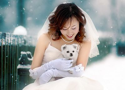 women, winter, snow, dogs, brides, Asians - related desktop wallpaper