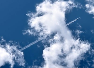 clouds, aircraft, vehicles, contrails, skyscapes, chemtrails - related desktop wallpaper