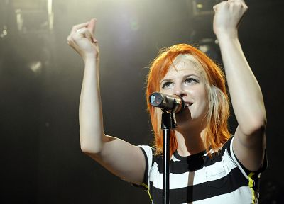 Hayley Williams, Paramore, women, music, redheads, celebrity, arms raised - random desktop wallpaper