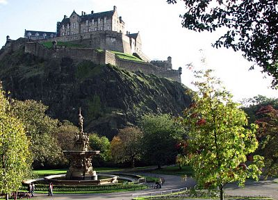 landscapes, castles, trees, buildings, Edinburgh, Edinburgh Castle - related desktop wallpaper