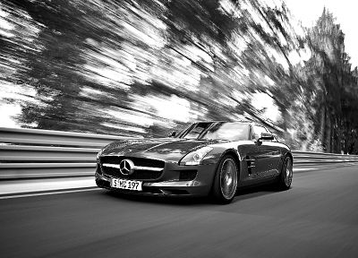 grayscale, Mercedes-Benz SLS AMG - random desktop wallpaper