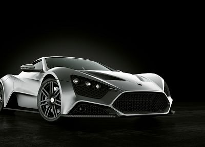 cars, vehicles, Zenvo ST1, Zenvo, black background, front angle view - related desktop wallpaper