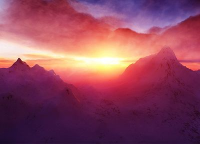 mountains, clouds, landscapes, nature, sunlight, skyscapes - random desktop wallpaper