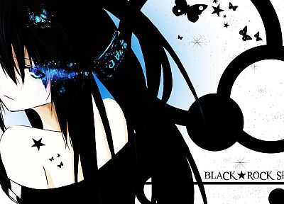 Black Rock Shooter, blue eyes, butterflies - random desktop wallpaper