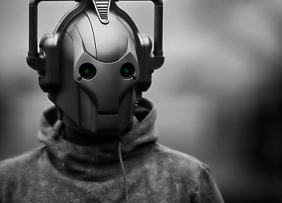 cybermen, grayscale, monochrome, Doctor Who - related desktop wallpaper