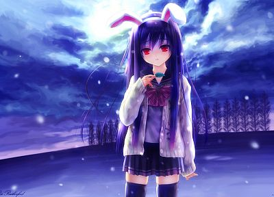 blue, clouds, winter, snow, Touhou, trees, leaves, school uniforms, schoolgirls, skirts, long hair, bunny girls, purple hair, animal ears, red eyes, thigh highs, Reisen Udongein Inaba, bows, signatures, bunny ears, skyscapes, anime girls, hair band, games - random desktop wallpaper