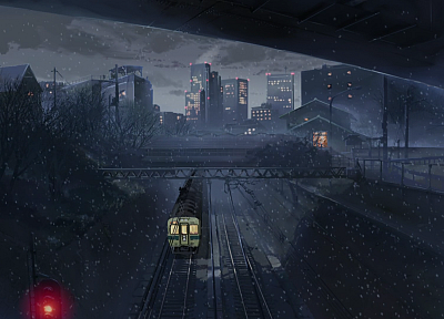 trains, Makoto Shinkai, traffic lights, 5 Centimeters Per Second, artwork, vehicles - desktop wallpaper