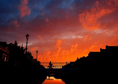 sunset, clouds, landscapes, bridges, skyscapes, evening - related desktop wallpaper