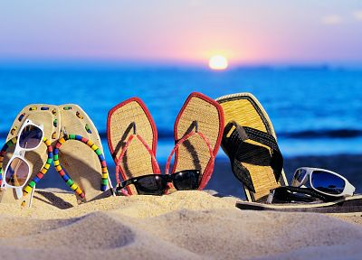 Sun, sand, sunglasses, sandals, flip flops, beaches - related desktop wallpaper