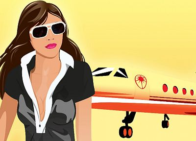 brunettes, women, cleavage, vectors, sunglasses, planes - random desktop wallpaper
