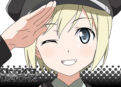 blondes, Strike Witches, uniforms, army, military, blue eyes, short hair, grin, anime, wink, hats, Erica Hartmann, anime girls, salute - related desktop wallpaper