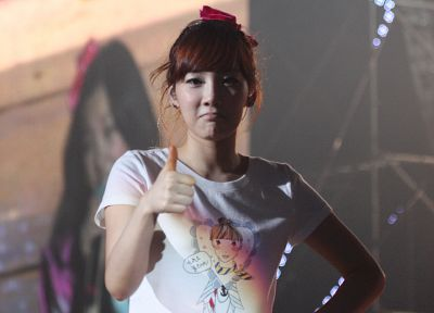 women, Girls Generation SNSD, Asians, Korean, Kim Taeyeon, thumbs up, bangs - related desktop wallpaper