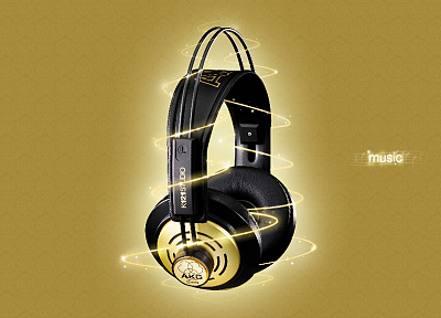 headphones, photo manipulation - desktop wallpaper