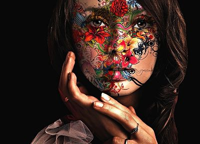 women, paintings, artistic, flowers, paint, faces, painted body, black background - random desktop wallpaper