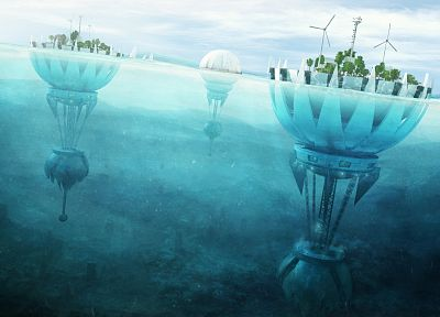 futuristic, fantasy art, windmills, split-view, sea - related desktop wallpaper