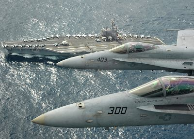 ocean, airplanes, navy, vehicles, aircraft carriers - random desktop wallpaper
