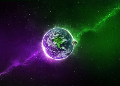 green, outer space, stars, purple, Earth - desktop wallpaper