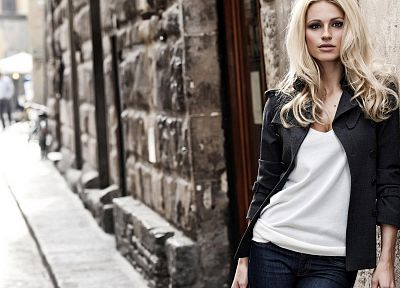blondes, women, jeans, cleavage, jackets, white shirt, leaning - desktop wallpaper