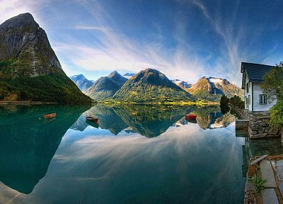 green, mountains, landscapes, ships, Norway, vehicles, Lofoten, sea - related desktop wallpaper