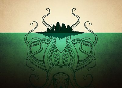tentacles, Cthulhu, islands, artwork, city skyline, sea - random desktop wallpaper