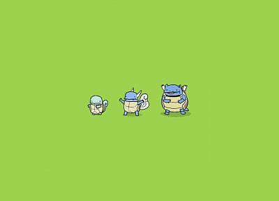 Pokemon, minimalistic, Wartortle, Squirtle, Blastoise, evolution, simple background, green background - related desktop wallpaper