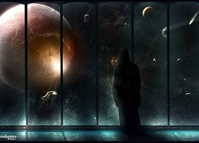 outer space, planets, window - random desktop wallpaper