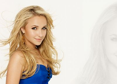blondes, women, actress, Hayden Panettiere, celebrity, blue dress, white background - desktop wallpaper
