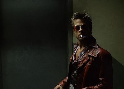 Fight Club, men, Brad Pitt, screenshots, Tyler Durden, elevators, cigarettes - related desktop wallpaper