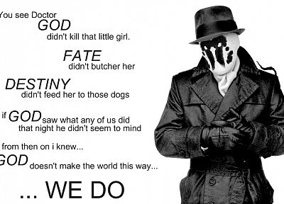 Watchmen, quotes, Rorschach, grayscale, monochrome - related desktop wallpaper