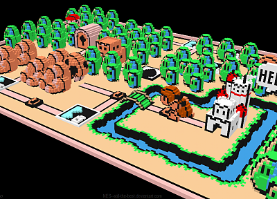 3D view, Mario, Super Mario Bros. 3, voxels - random desktop wallpaper
