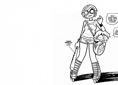 Scott Pilgrim, Ramona Flowers, baseball bats - random desktop wallpaper
