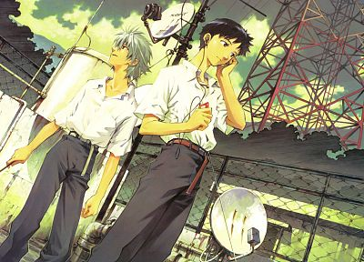 Neon Genesis Evangelion, Ikari Shinji, Kaworu Nagisa, anime - related desktop wallpaper