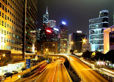 cityscapes, lights, buildings, Hong Kong, roads, long exposure - related desktop wallpaper